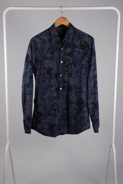 DKNY Blue/Grey Leaf Pattern Shirt - Size M - Front