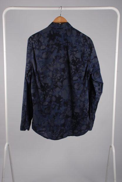 DKNY Blue/Grey Leaf Pattern Shirt - Size M - Back