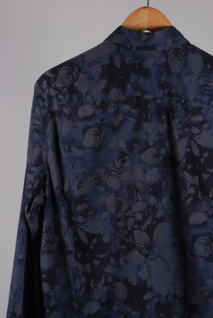 DKNY Blue/Grey Leaf Pattern Shirt - Size M - Back Detail