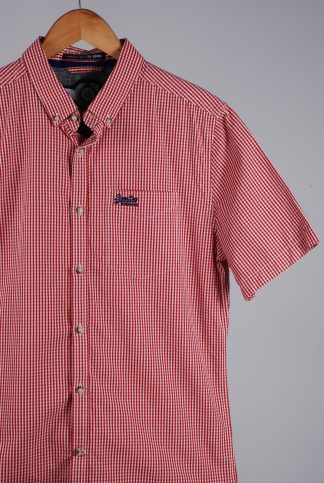 Superdry Red & White Gingham Shirt - Front Detail