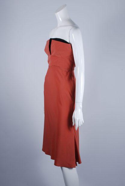 Topshop Orange Structured Bandeau Dress - Size 10 - Side