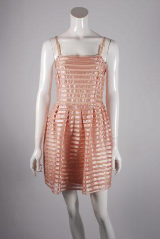H&M Neutral Striped Mesh Skater Dress - Size L - Front