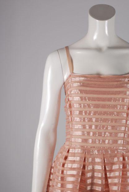 H&M Neutral Striped Mesh Skater Dress - Size L - Front Detail