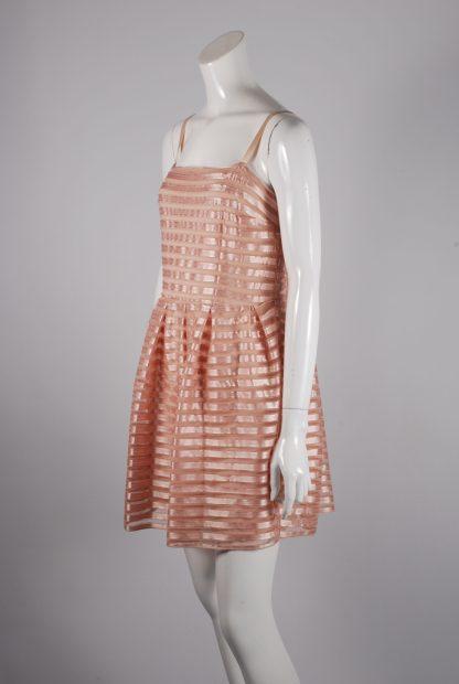 H&M Neutral Striped Mesh Skater Dress - Size L - Side