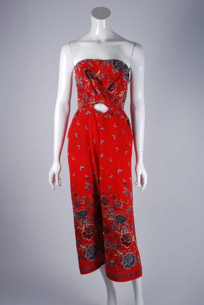 Quiz Red Floral Bandeau Jumpsuit - Size 10 - Front