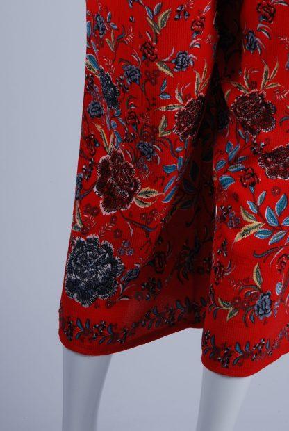 Quiz Red Floral Bandeau Jumpsuit - Size 10 - Back Hem