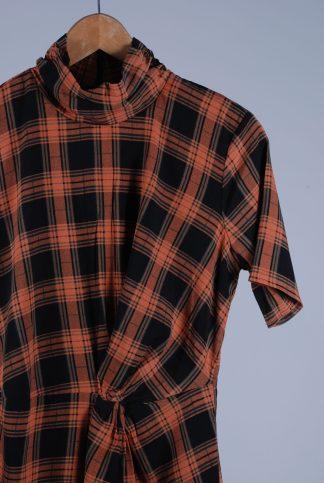 Fashion Union High Neck Check Mini Dress - Size 10 - Front Detail