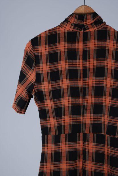 Fashion Union High Neck Check Mini Dress - Size 10 - Back Detail