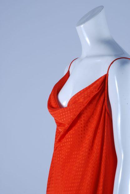M&S Orange Tonal Polka Dot Dress - Size 14 - Side Detail