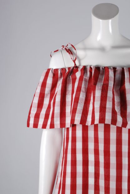 Mango Red & White Gingham Dress - Size S - Front Detail
