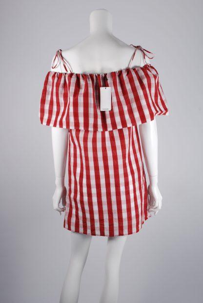 Mango Red & White Gingham Dress - Size S - Back