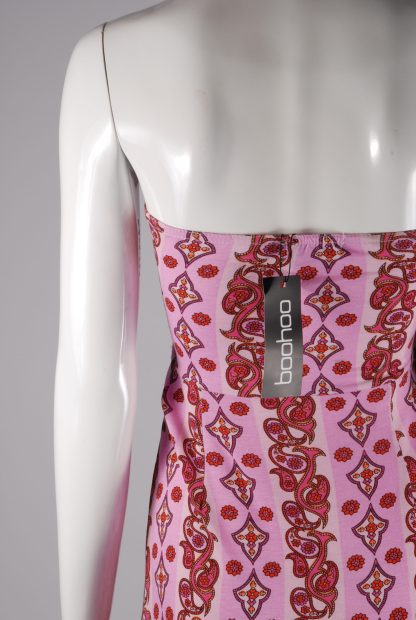 Boohoo Pink & Red Paisley Maxi Dress - Size 10 - Back Detail