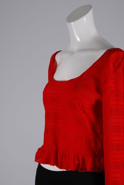 Lost Ink Red Textured Crop Top - Size 8 - Side
