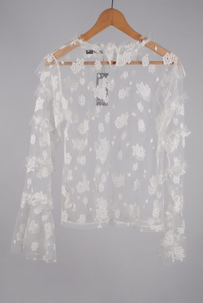 Nasty Gal White Lace Mesh Top - Size 14 - Back