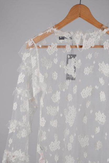 Nasty Gal White Lace Mesh Top - Size 14 - Back Detail