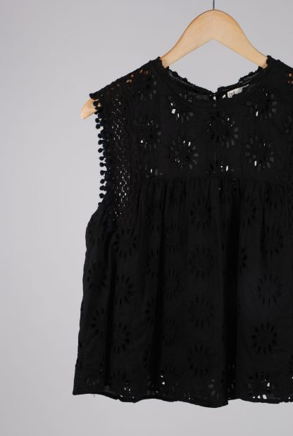 Zara Black Broderie Sleeveless Top - Size M - Front Detail