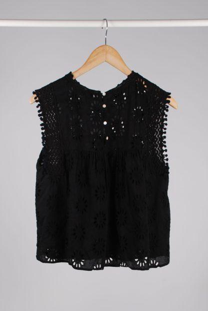 Zara Black Broderie Sleeveless Top - Size M - Back