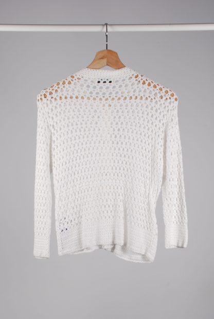 Topshop White Chunky Crochet Cardigan - Size 12 - Back