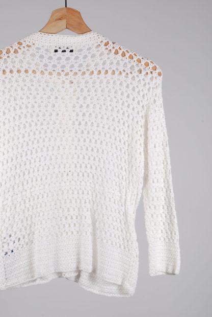 Topshop White Chunky Crochet Cardigan - Size 12 - Back Detail