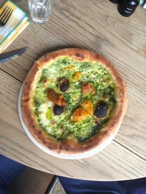 Pesto, and tomato pizza, Pizza East.