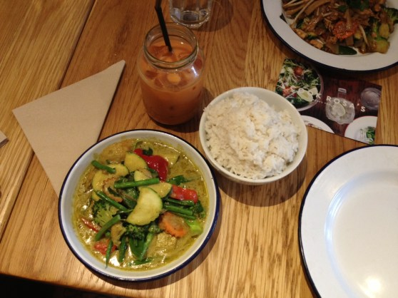 Rosa's Green Curry, Coconut Rice and Black Iced Tea.