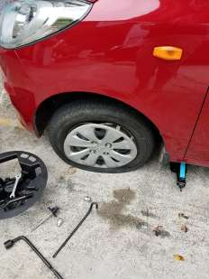 Busted tire in Seychelles