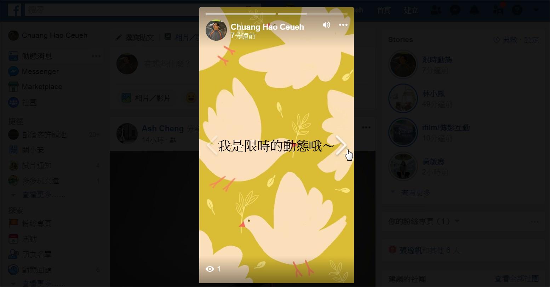 臉書/Facebook, 限時動態/Stories