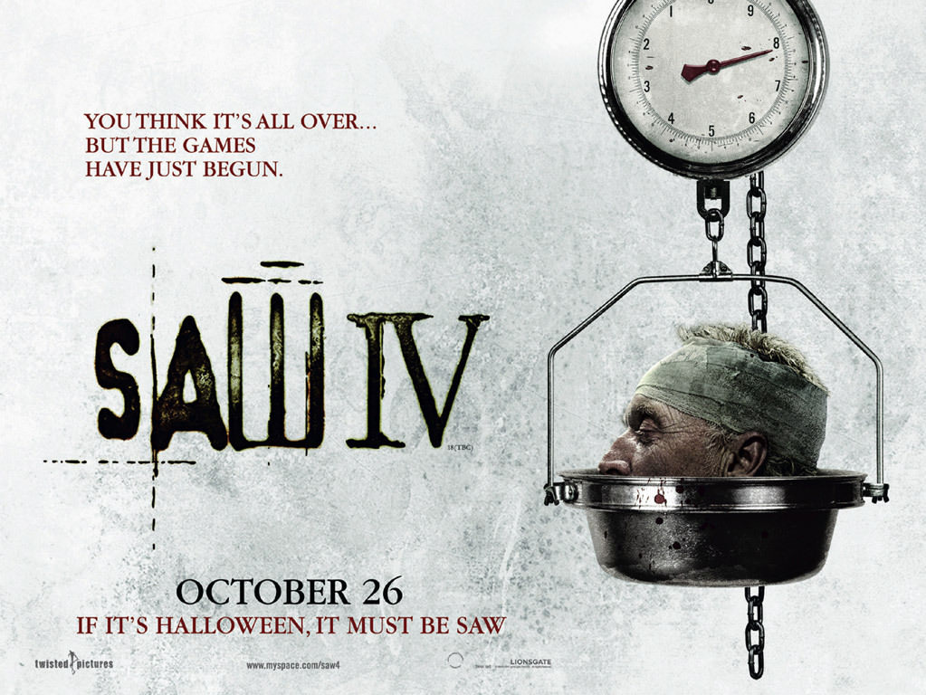 Movie, Saw IV(美國, 2007年) / 奪魂鋸4(台灣) / 恐懼鬥室4:回頭是岸(香港) / 电锯惊魂4(網路), 電影海報, 美國, 橫版