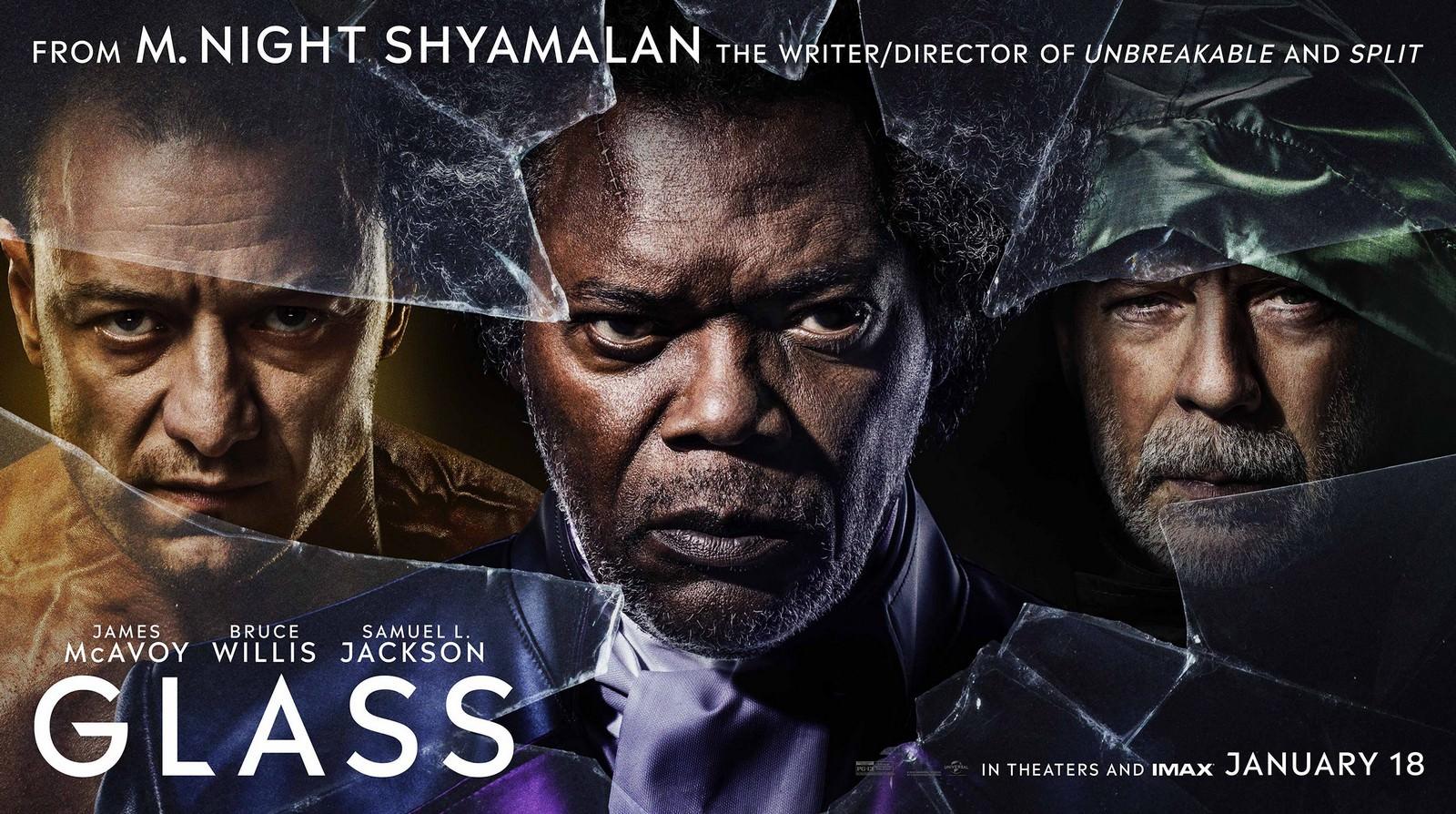Movie, Glass(美國, 2019年) / 異裂(台灣) / 異能仨(香港) / 玻璃先生(網路), 電影海報, 美國, 橫版