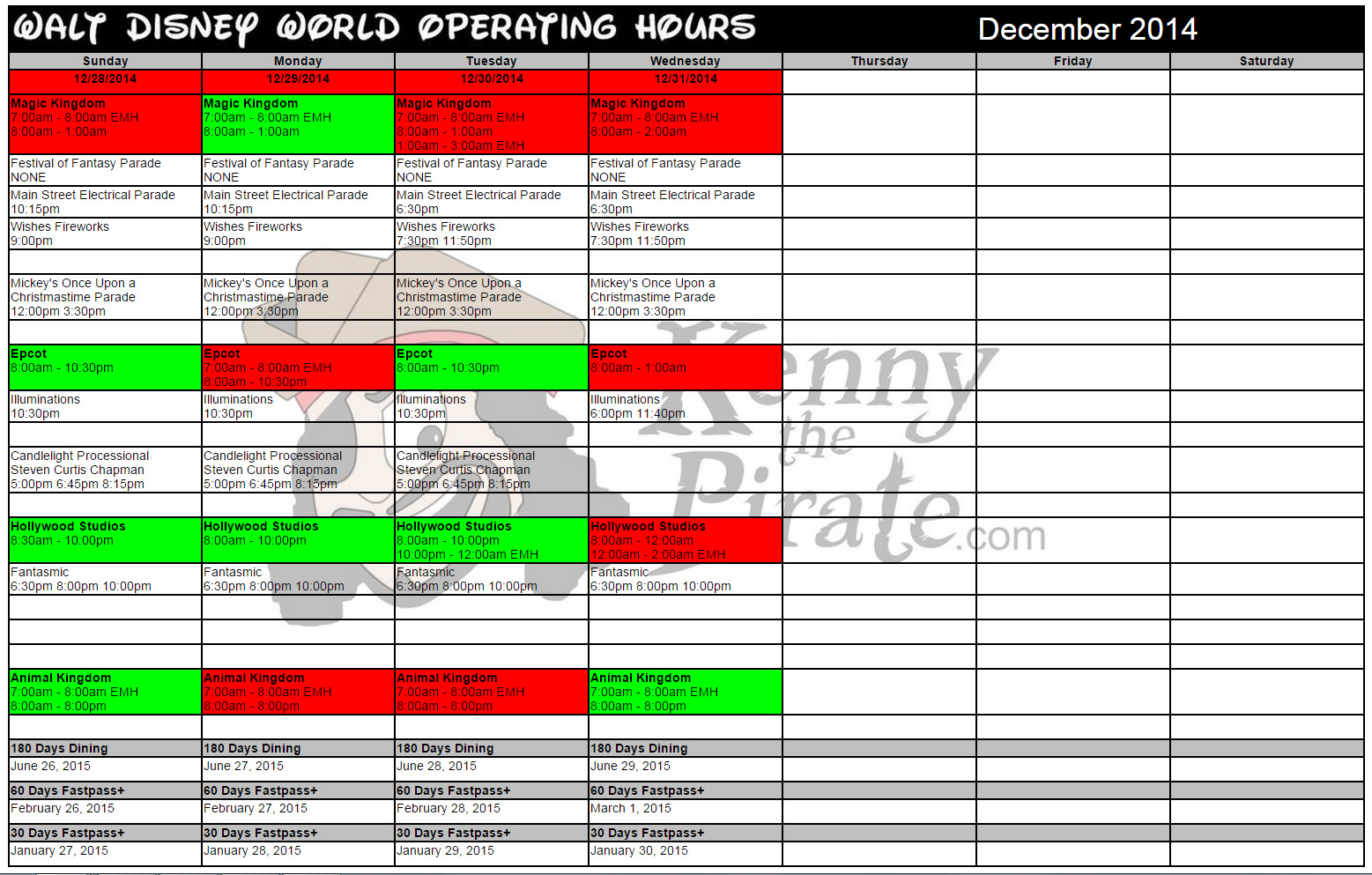 KennythePirate's December Walt Disney World Crowd Calendar with Dining and Fastpass+ Booking Dates