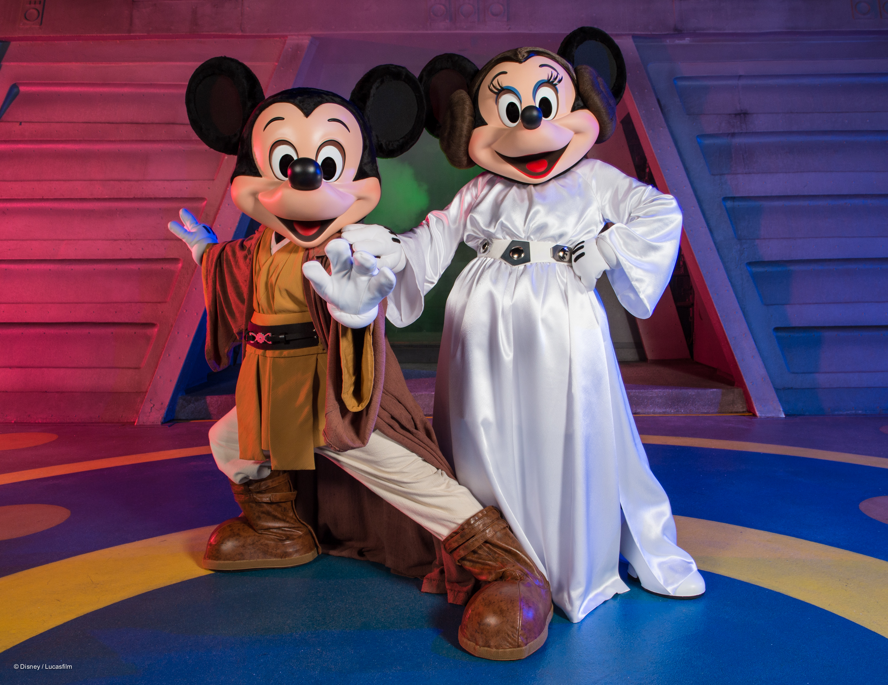 Jedi Mickey and Princess Leia Minnie Mouse at Star Wars Weekends