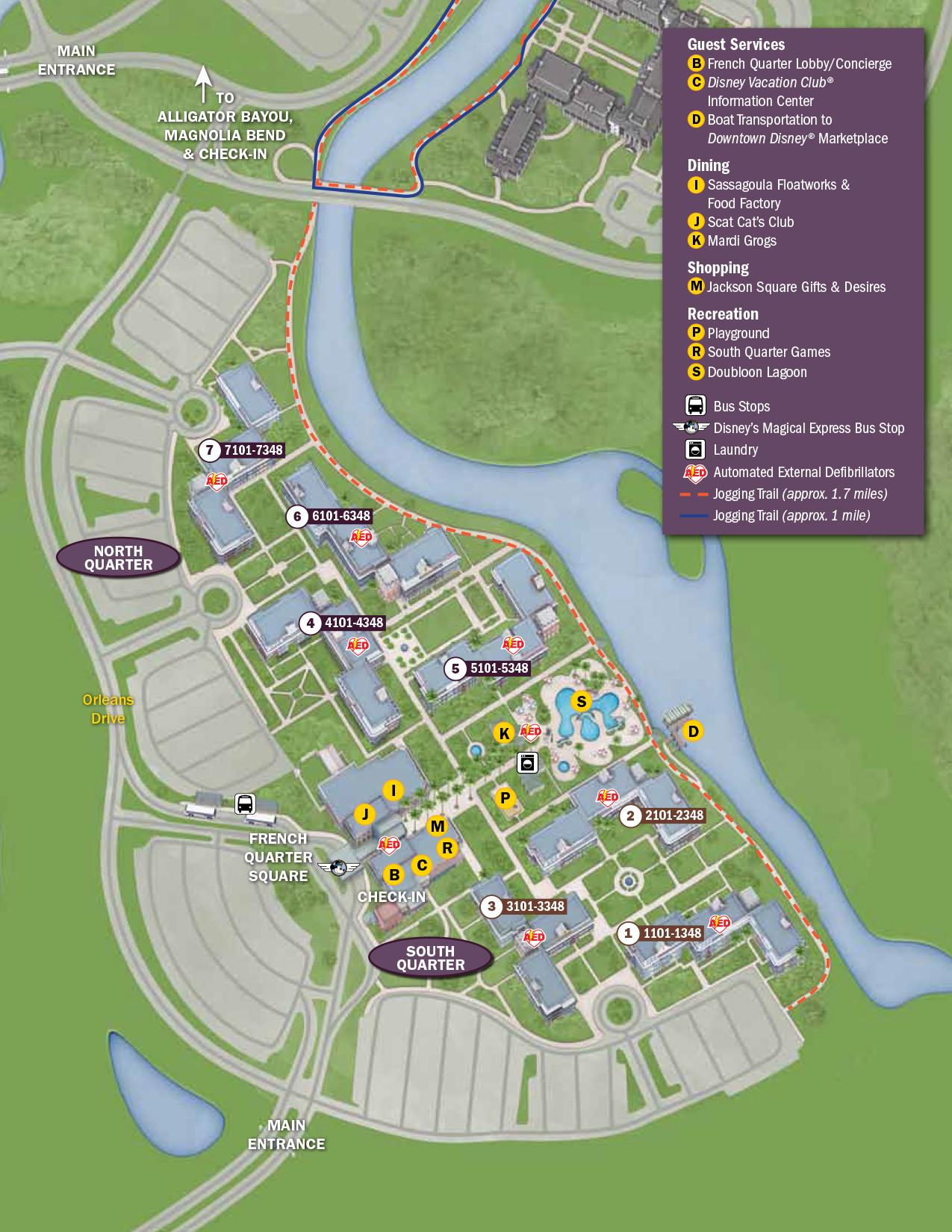 Port Orleans French Quarter Resort Map Walt Disney World