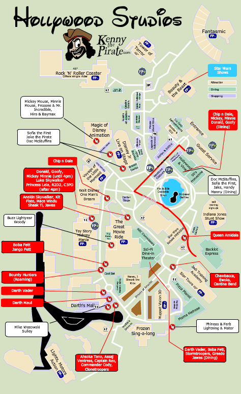 Star Wars Weekends Character Location Map