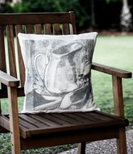 still life screen printed hand made cushion
