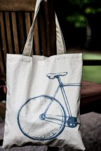 bike screen printed hand made bag