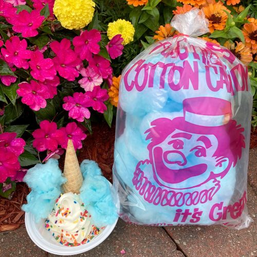 COTTON CANDY SUNDAE - Soft vanilla custard topped with a sugar cone, real cotton candy with rainbow sprinkles.