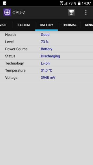 CPU-Z vérifier état de la batterie Samsung.