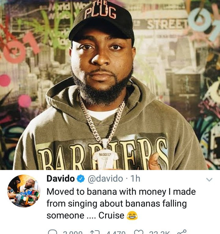 """OBO: """"I moved to banana with money I made from singing about bananas falling on someone"""" – Davido says after he got a house in Banana Island"""