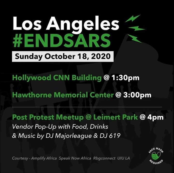 #BetterTogether: #EndSARS protest to hold in Los Angeles and foreign news publications are promoting it…