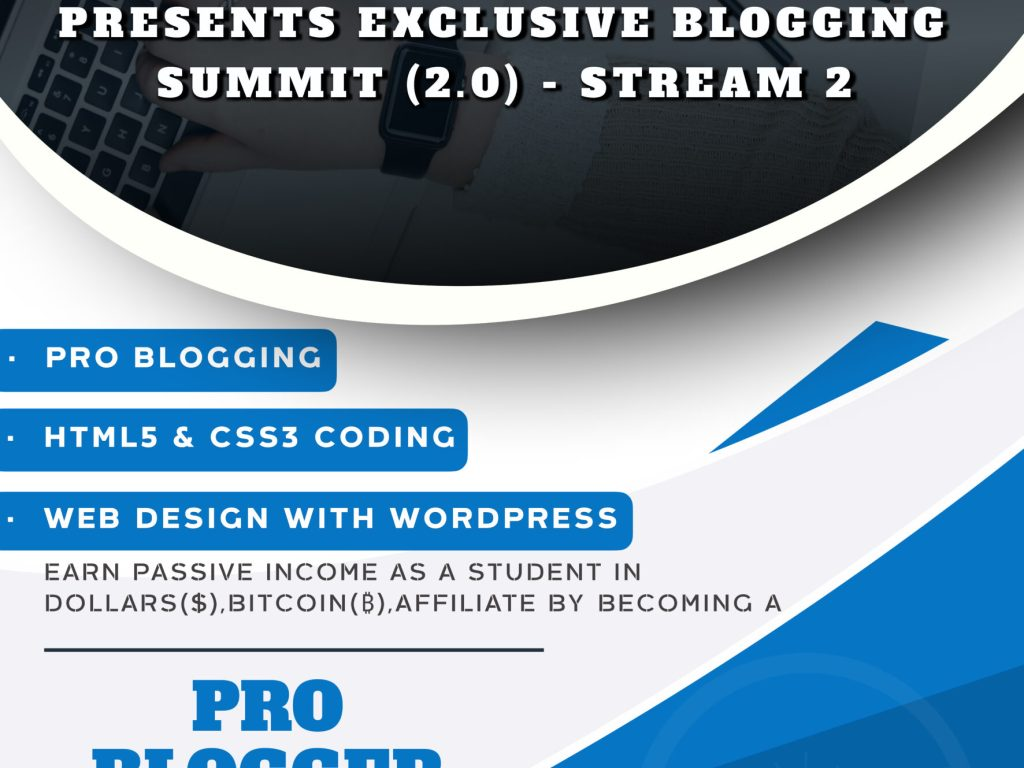 """""""Exclusive Blogging Summit (2.0) – 'STREAM 2' in partnership with Student Union Government Live at FUTO"""" – REGISTER HERE."""