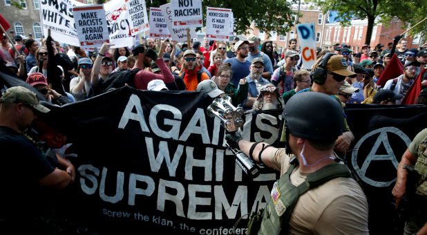 White nationalists are met by a group of counter-protesters in Charlottesville, Virginia.
