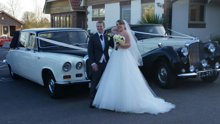 Our 1970 Daimler State Landaulette with the happy couple and one of our Bentleys
