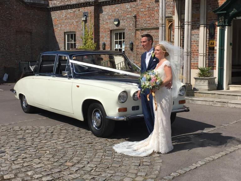 "Our ""Royal"" Daimler with the happy couple - perfect wedding car"