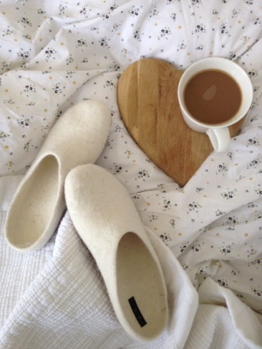 Fire and Felt slippers - breakfast in bed - Botanicals blog - Charis White