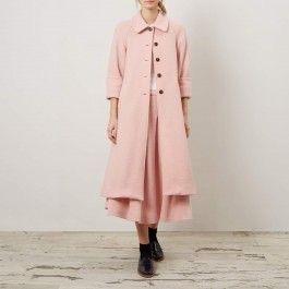 Pink Eco coat, Cabbages & Roses: Charis White indigo and blush blog