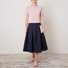 blue skirt, pink top, Cabbages & Roses: Charis White Indigo and Blush blog