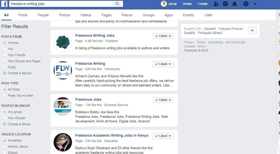 Writing jobs on facebook