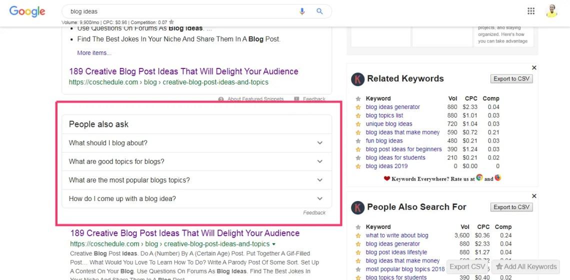 Use google as a blog idea generator