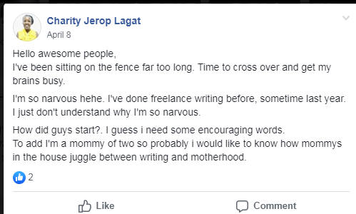 Starting my freelance writing business.