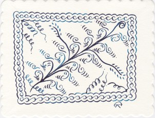 Pointed Pen on scallop paper